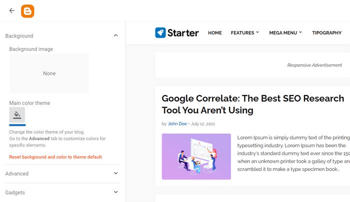 Customize Starter Blogger Template