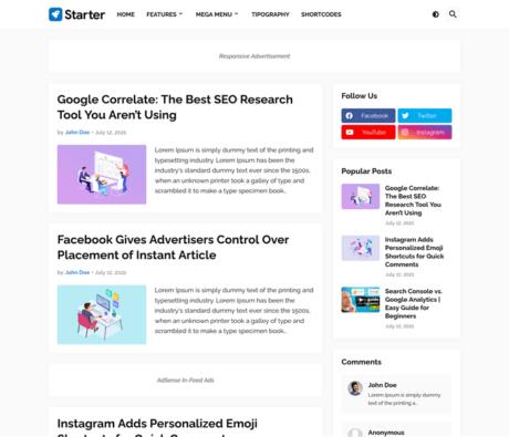 Starter - Responsive Blogger Template
