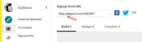 Mailchimp Signup form URL