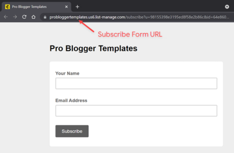 Mailchimp Subscribe Form URL