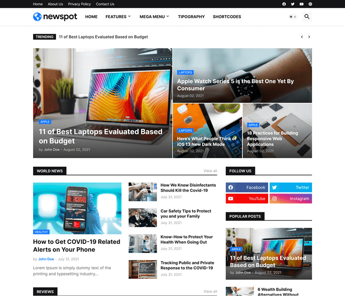 Newspot - Responsive News & Magazine Blogger Template