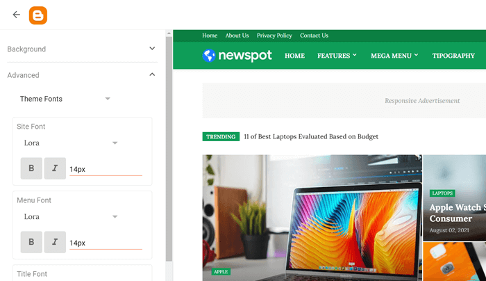 Newspot Colors and Fonts