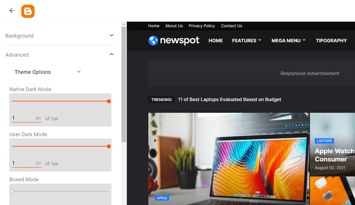 Newspot Dark Mode