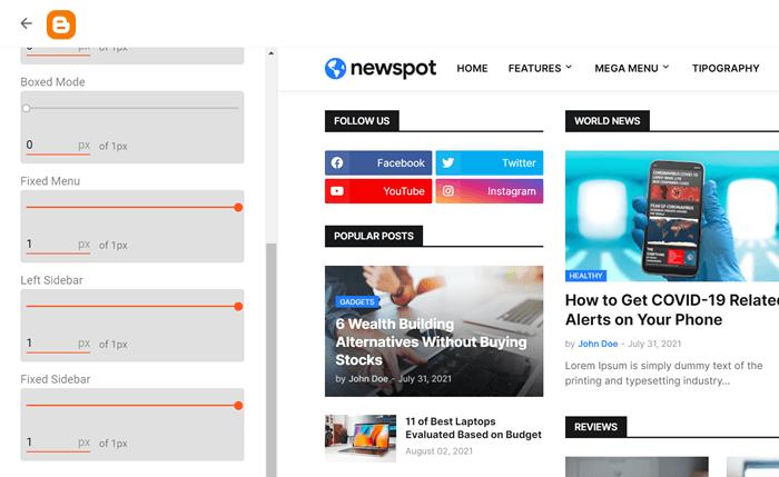 Newspot Left Sidebar