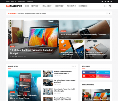 Magspot - Professional News & Magazine Blogger Template