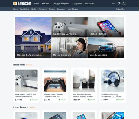 Amazen - Responsive Affiliate & Classified Ads Blogger Template